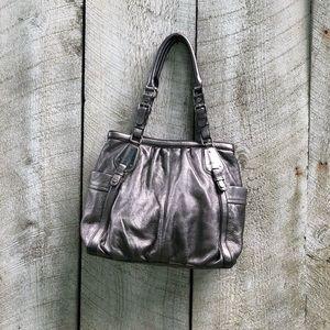 B. Makowsky | gray leather slouchy shoulder bag